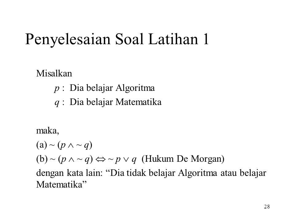 28 Penyelesaian Soal Latihan 1 Misalkan p : Dia belajar Algoritma q : Dia belajar Matematika maka, (a) ~ (p  ~ q) (b) ~ (p  ~ q)  ~ p  q (Hukum De Morgan) dengan kata lain: Dia tidak belajar Algoritma atau belajar Matematika
