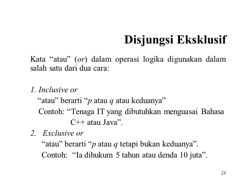 """29 Disjungsi Eksklusif Kata """"atau"""" (or) dalam operasi logika digunakan dalam salah satu dari dua cara: 1. Inclusive or """"atau"""" berarti """"p atau q atau k"""