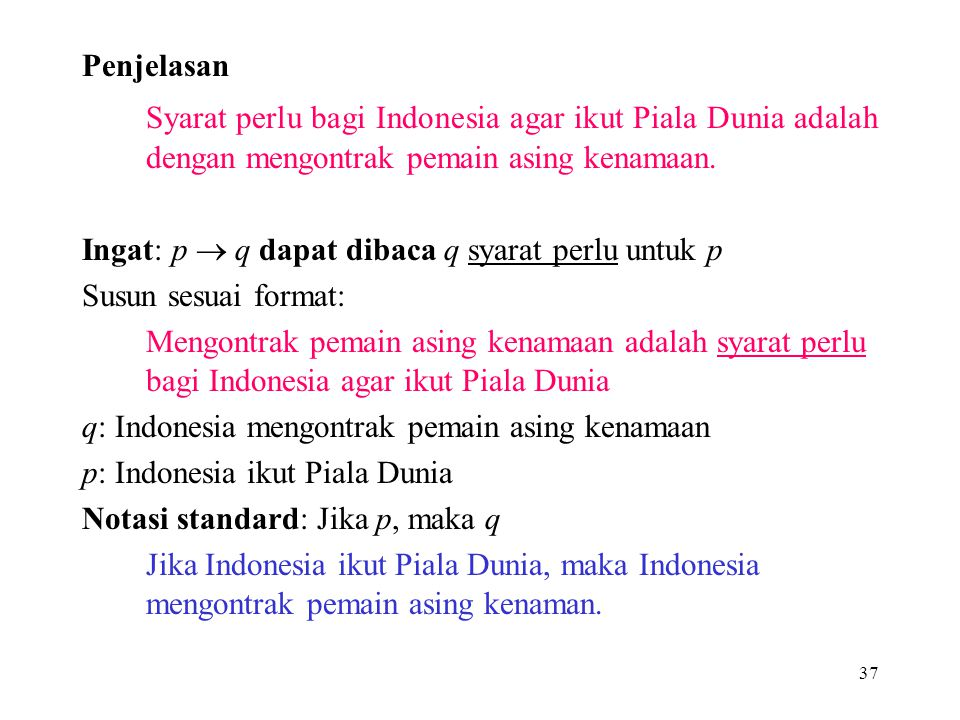 37 Penjelasan Syarat perlu bagi Indonesia agar ikut Piala Dunia adalah dengan mengontrak pemain asing kenamaan. Ingat: p  q dapat dibaca q syarat per