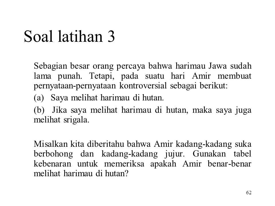 62 Soal latihan 3 Sebagian besar orang percaya bahwa harimau Jawa sudah lama punah. Tetapi, pada suatu hari Amir membuat pernyataan-pernyataan kontrov