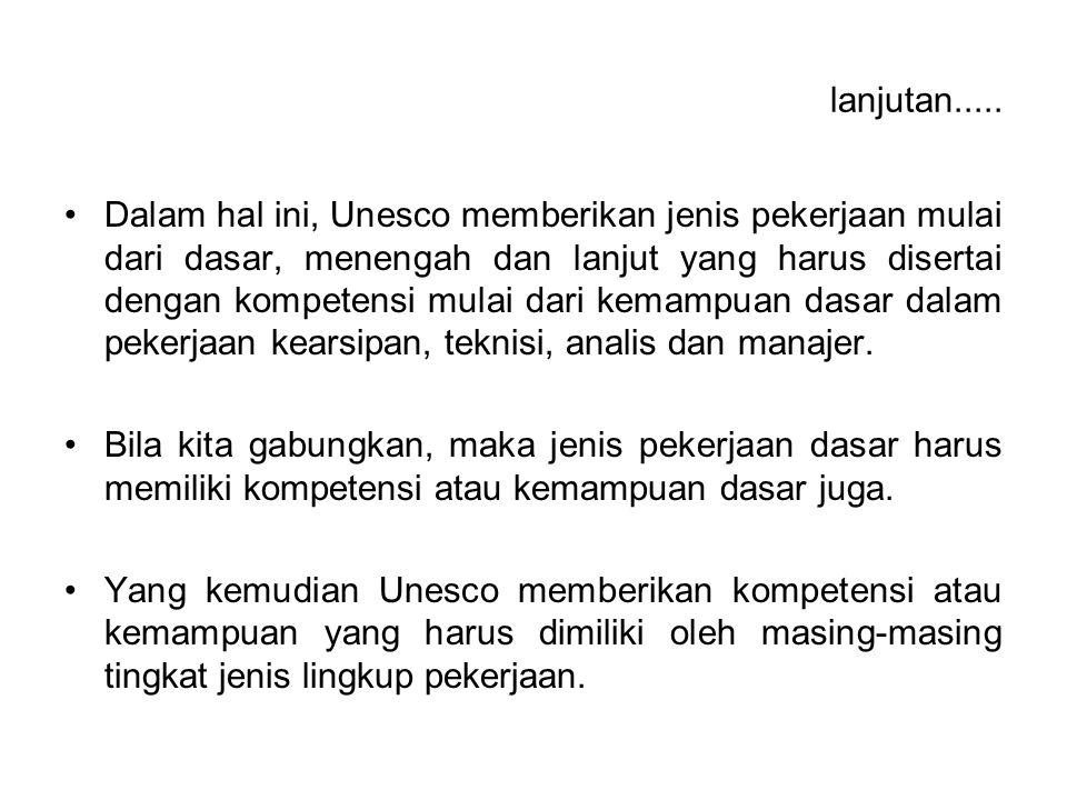 lanjutan..... Dalam hal ini, Unesco memberikan jenis pekerjaan mulai dari dasar, menengah dan lanjut yang harus disertai dengan kompetensi mulai dari