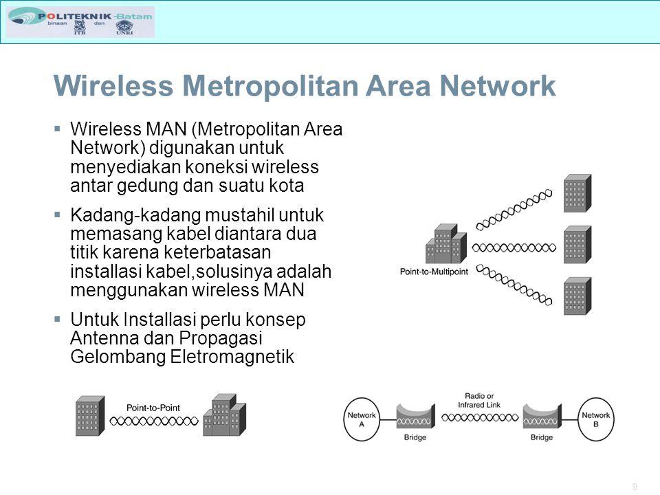 10 WIMAX  WiMAX merupakan standar Broadband Wireless Access (BWA) dengan kemampuan untuk menyalurkan data kecepatan tinggi (layaknya teknolodi xDSL pada jaringan wireline).
