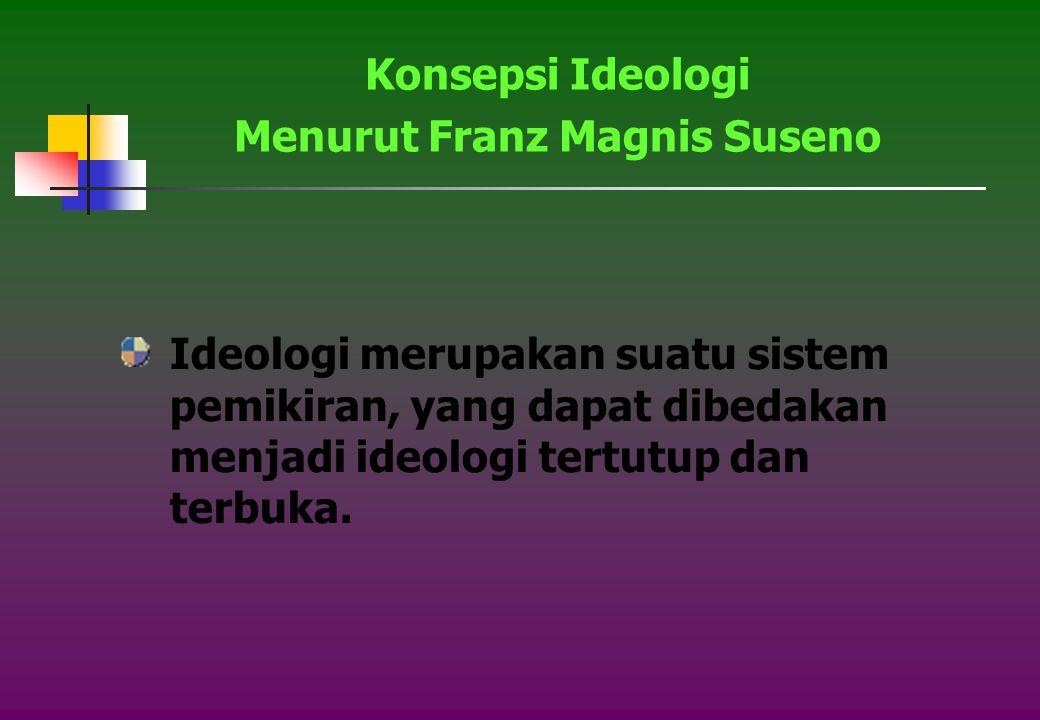 Ideologi merupakan suatu sistem pemikiran, yang dapat dibedakan menjadi ideologi tertutup dan terbuka.