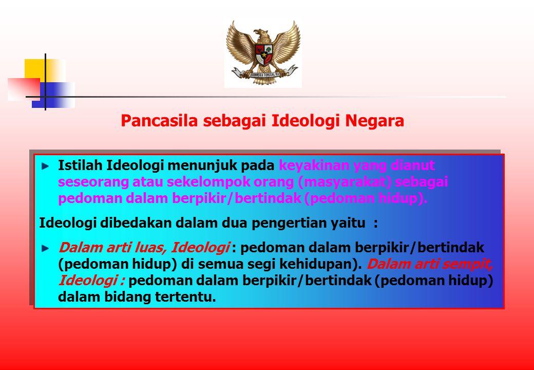 Istilah Ideologi menunjuk pada keyakinan yang dianut seseorang atau sekelompok orang (masyarakat) sebagai pedoman dalam berpikir/bertindak (pedoman hidup).