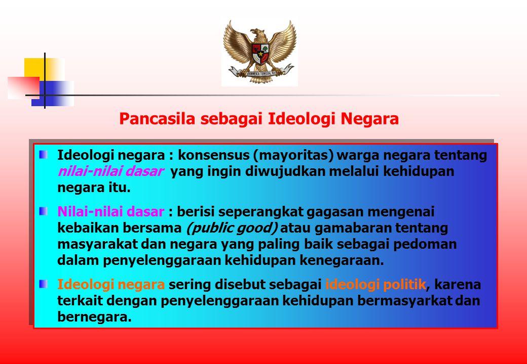 Ideologi negara : konsensus (mayoritas) warga negara tentang nilai-nilai dasar yang ingin diwujudkan melalui kehidupan negara itu.