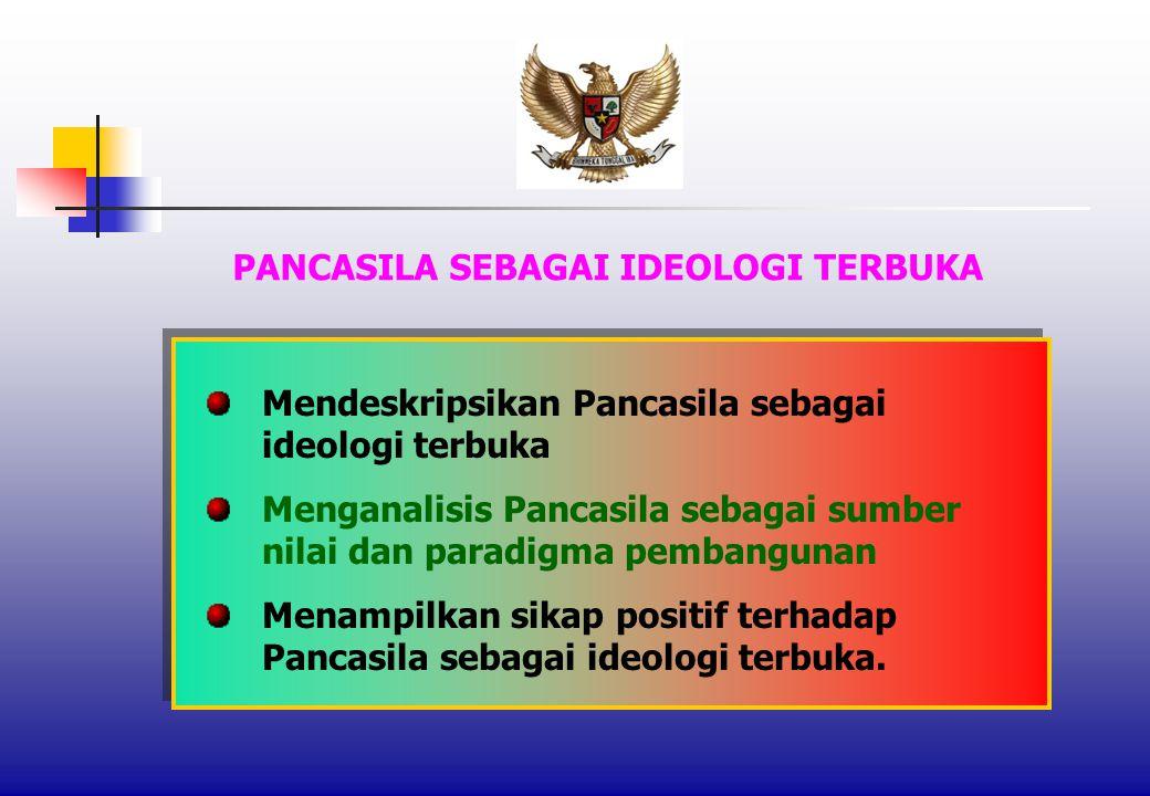 PANCASILA SEBAGAI IDEOLOGI TERBUKA Mendeskripsikan Pancasila sebagai ideologi terbuka Menganalisis Pancasila sebagai sumber nilai dan paradigma pembangunan Menampilkan sikap positif terhadap Pancasila sebagai ideologi terbuka.