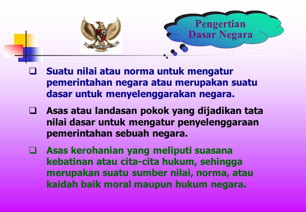 Pengertian Dasar Negara  Suatu nilai atau norma untuk mengatur pemerintahan negara atau merupakan suatu dasar untuk menyelenggarakan negara.