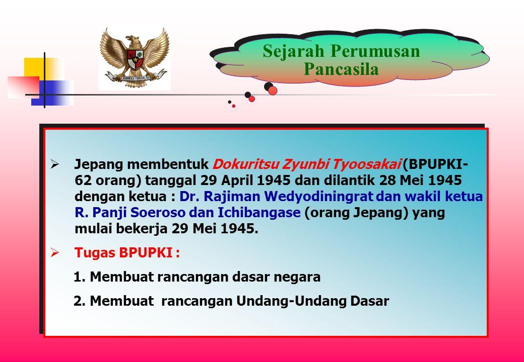 Sejarah Perumusan Pancasila  Jepang membentuk Dokuritsu Zyunbi Tyoosakai (BPUPKI- 62 orang) tanggal 29 April 1945 dan dilantik 28 Mei 1945 dengan ketua : Dr.