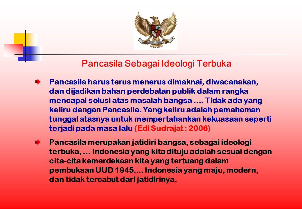 Pancasila Sebagai Ideologi Terbuka Pancasila harus terus menerus dimaknai, diwacanakan, dan dijadikan bahan perdebatan publik dalam rangka mencapai solusi atas masalah bangsa....