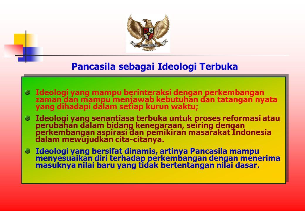 Pancasila sebagai Ideologi Terbuka Ideologi yang mampu berinteraksi dengan perkembangan zaman dan mampu menjawab kebutuhan dan tatangan nyata yang dihadapi dalam setiap kurun waktu; Ideologi yang senantiasa terbuka untuk proses reformasi atau perubahan dalam bidang kenegaraan, seiring dengan perkembangan aspirasi dan pemikiran masarakat Indonesia dalam mewujudkan cita-citanya.