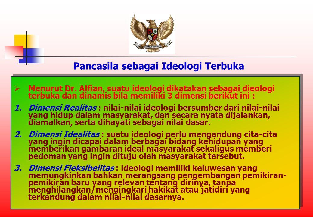 Pancasila sebagai Ideologi Terbuka  Menurut Dr.