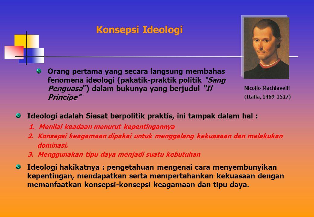 Konsepsi Ideologi Ideologi adalah Siasat berpolitik praktis, ini tampak dalam hal : 1.
