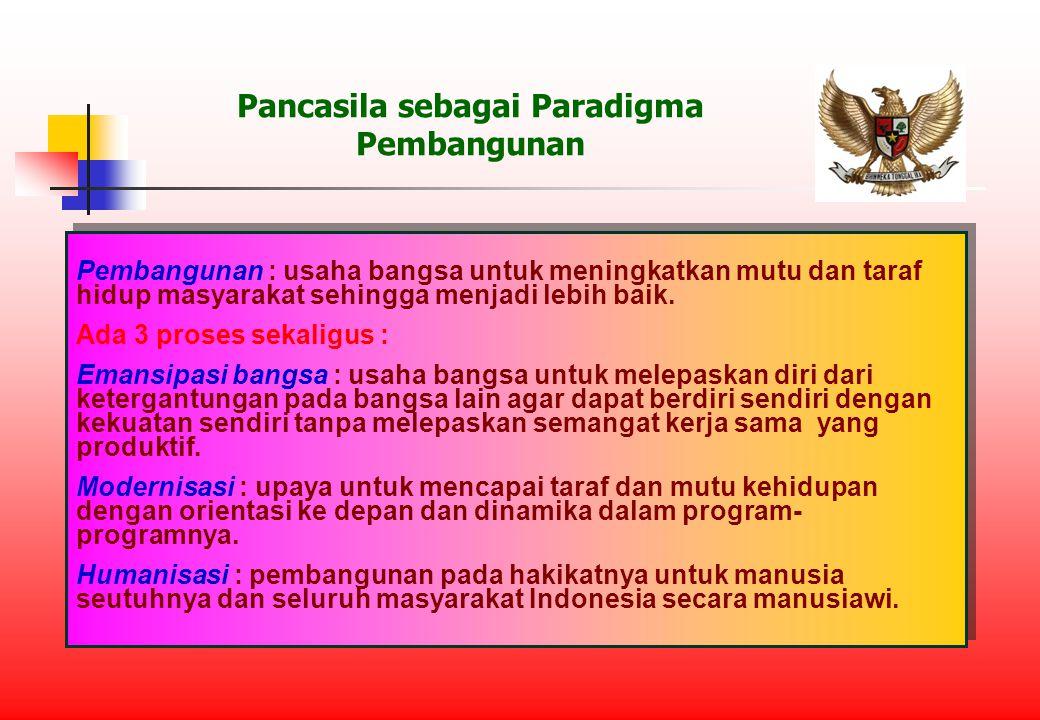 Pancasila sebagai Paradigma Pembangunan Pembangunan : usaha bangsa untuk meningkatkan mutu dan taraf hidup masyarakat sehingga menjadi lebih baik.