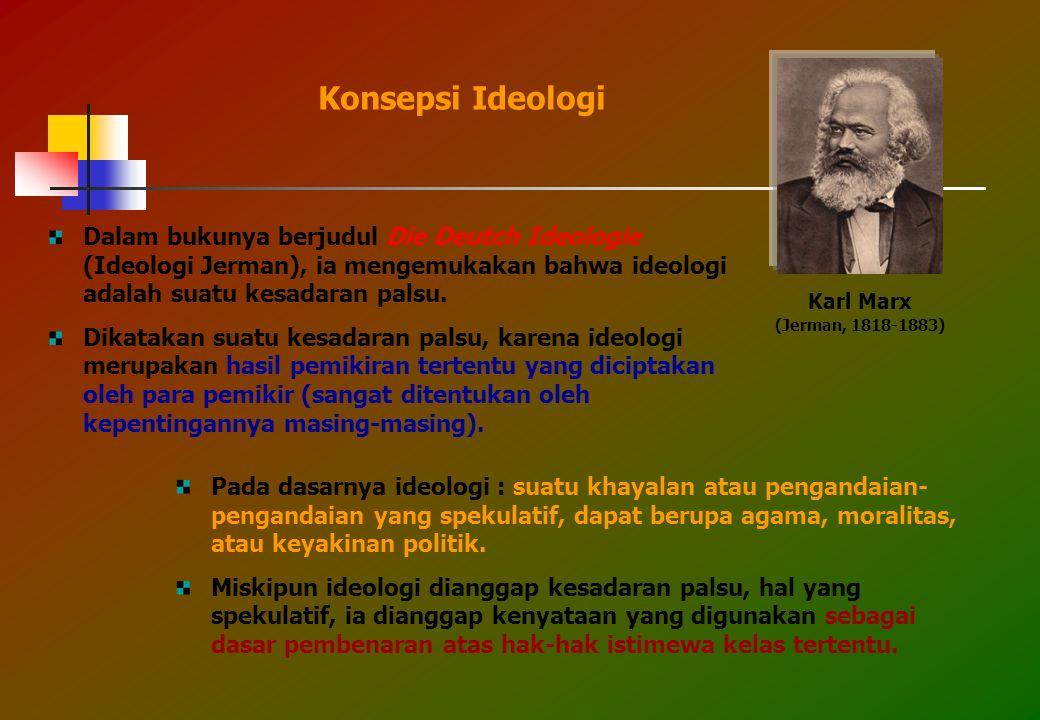 Dalam bukunya berjudul Die Deutch Ideologie (Ideologi Jerman), ia mengemukakan bahwa ideologi adalah suatu kesadaran palsu.