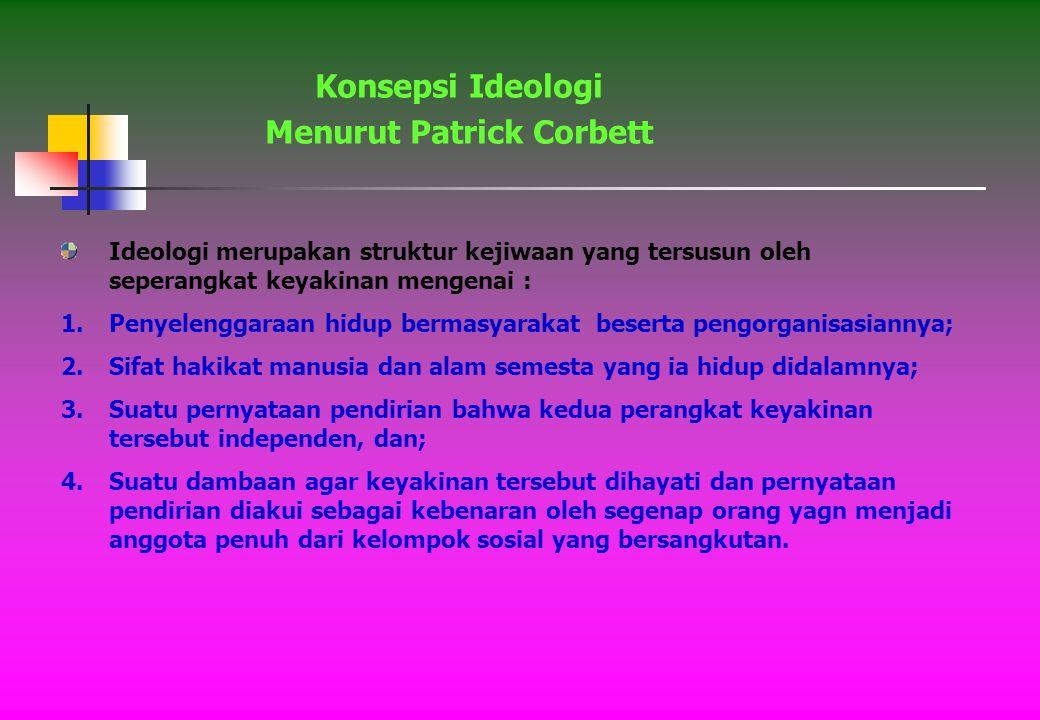 Ideologi merupakan seperagkat gagasan yang membentuk landasan teori ekonomi dan politik atau yang dipegang seseorang atau sekelompok orang.