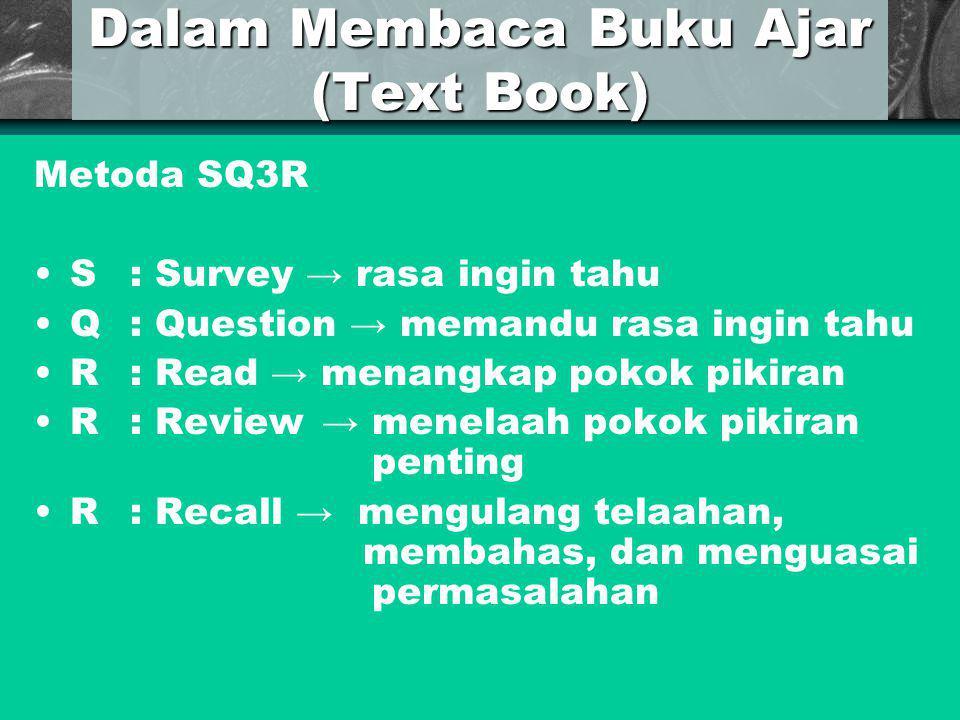 Dalam Membaca Buku Ajar (Text Book) Metoda SQ3R S: Survey → rasa ingin tahu Q: Question → memandu rasa ingin tahu R: Read → menangkap pokok pikiran R:
