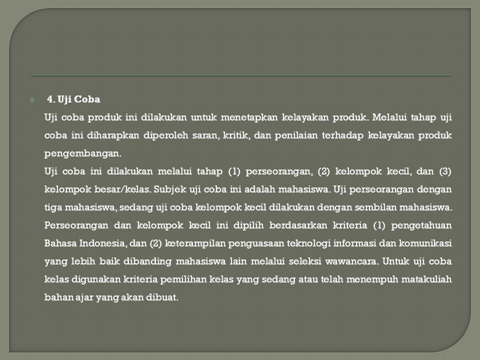  4. Uji Coba Uji coba produk ini dilakukan untuk menetapkan kelayakan produk.