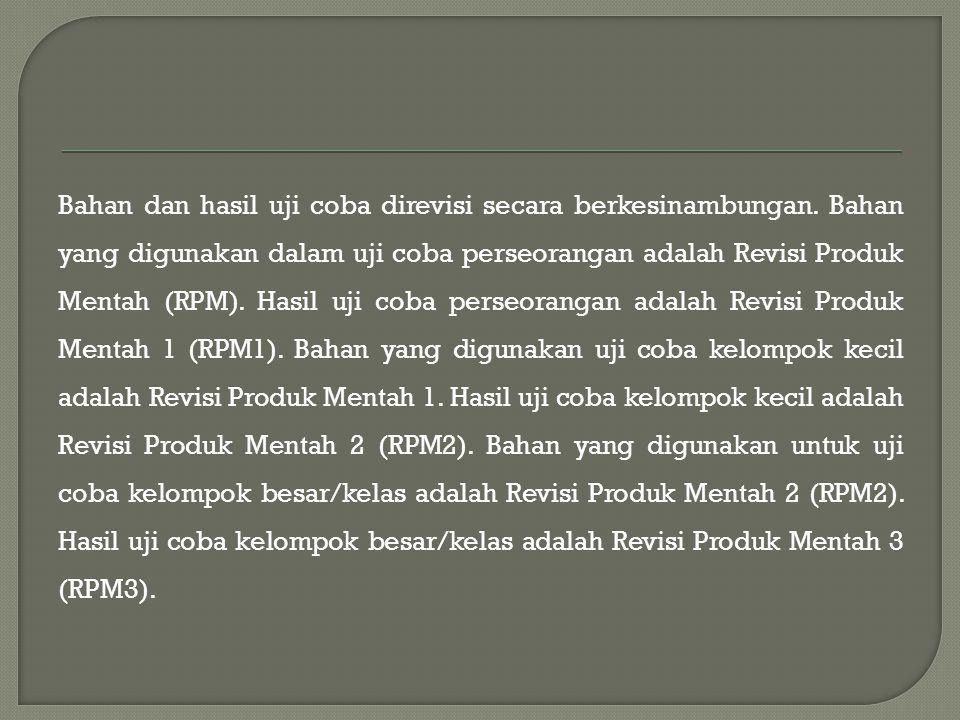 Bahan dan hasil uji coba direvisi secara berkesinambungan. Bahan yang digunakan dalam uji coba perseorangan adalah Revisi Produk Mentah (RPM). Hasil u