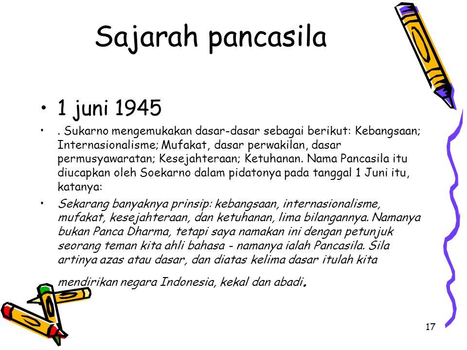 Sajarah pancasila 1 juni 1945. Sukarno mengemukakan dasar-dasar sebagai berikut: Kebangsaan; Internasionalisme; Mufakat, dasar perwakilan, dasar permu