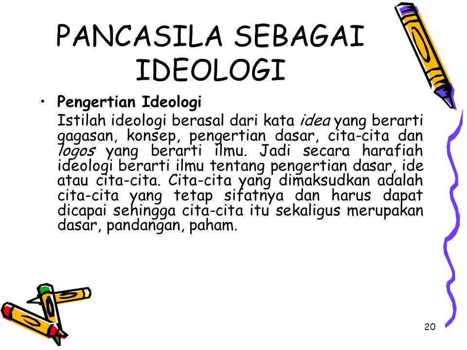 PANCASILA SEBAGAI IDEOLOGI Pengertian Ideologi Istilah ideologi berasal dari kata idea yang berarti gagasan, konsep, pengertian dasar, cita-cita dan l
