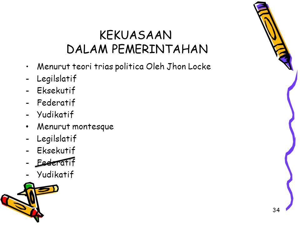 KEKUASAAN DALAM PEMERINTAHAN Menurut teori trias politica Oleh Jhon Locke -Legilslatif -Eksekutif -Federatif -Yudikatif Menurut montesque -Legilslatif