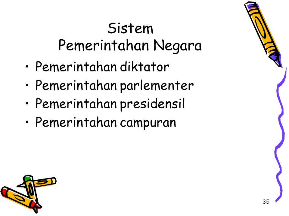 Sistem Pemerintahan Negara Pemerintahan diktator Pemerintahan parlementer Pemerintahan presidensil Pemerintahan campuran 35
