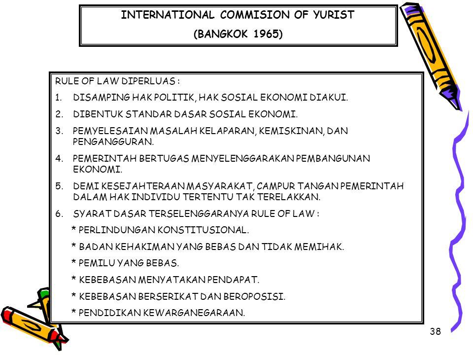 38 INTERNATIONAL COMMISION OF YURIST (BANGKOK 1965) RULE OF LAW DIPERLUAS : 1.DISAMPING HAK POLITIK, HAK SOSIAL EKONOMI DIAKUI. 2.DIBENTUK STANDAR DAS