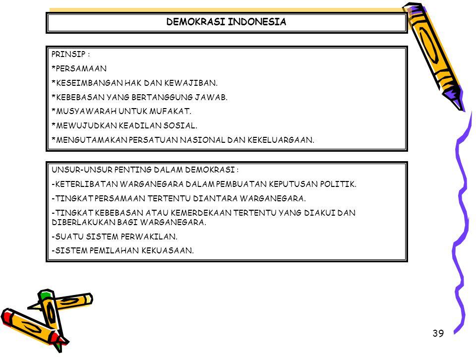 39 DEMOKRASI INDONESIA PRINSIP : *PERSAMAAN *KESEIMBANGAN HAK DAN KEWAJIBAN. *KEBEBASAN YANG BERTANGGUNG JAWAB. *MUSYAWARAH UNTUK MUFAKAT. *MEWUJUDKAN