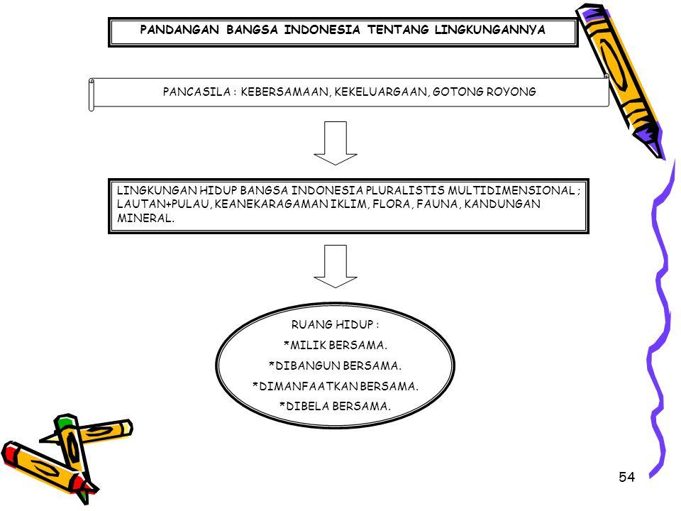 54 PANDANGAN BANGSA INDONESIA TENTANG LINGKUNGANNYA PANCASILA : KEBERSAMAAN, KEKELUARGAAN, GOTONG ROYONG LINGKUNGAN HIDUP BANGSA INDONESIA PLURALISTIS