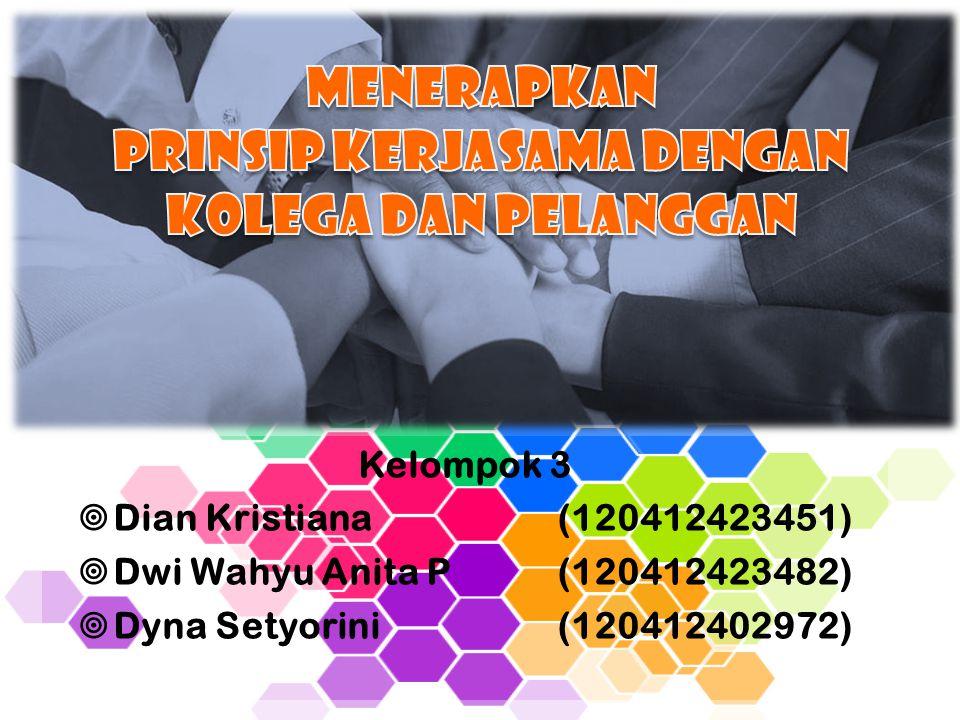 Kelompok 3  Dian Kristiana(120412423451)  Dwi Wahyu Anita P(120412423482)  Dyna Setyorini(120412402972)