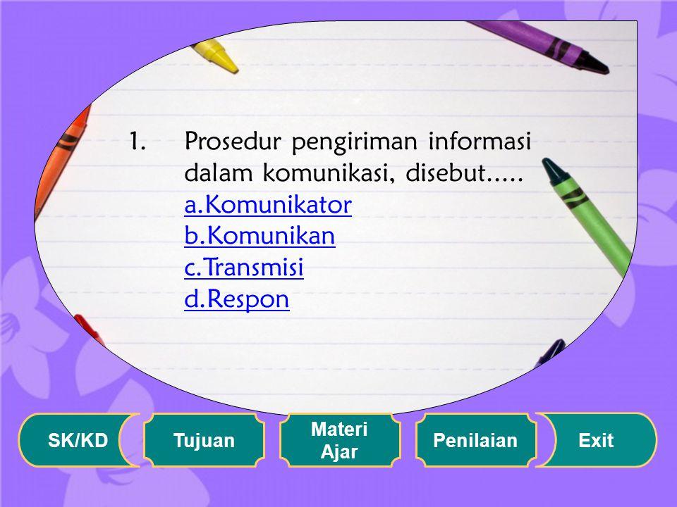 Setelah memahami materi di atas, silahkan menjawab soal di bawah ini: SK/KD Tujuan Materi Ajar Penilaian Exit