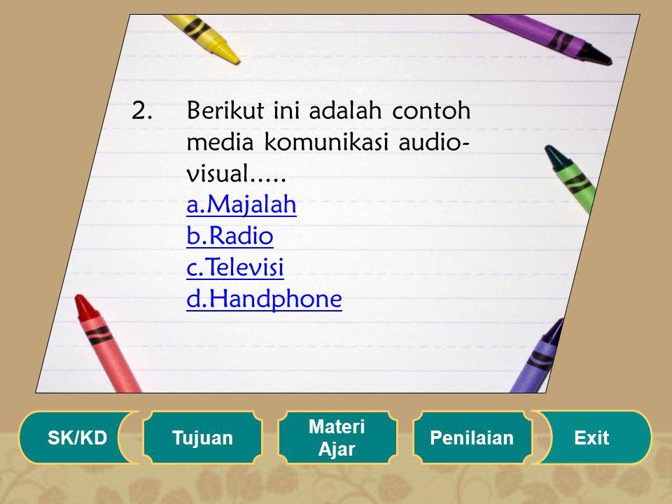 1.Prosedur pengiriman informasi dalam komunikasi, disebut..... a.Komunikator b.Komunikan c.Transmisi d.Respon a.Komunikator b.Komunikan c.Transmisi d.