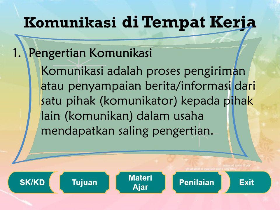 Komunikasi di Tempat Kerja 1.Pengertian Komunikasi Komunikasi adalah proses pengiriman atau penyampaian berita/informasi dari satu pihak (komunikator) kepada pihak lain (komunikan) dalam usaha mendapatkan saling pengertian.