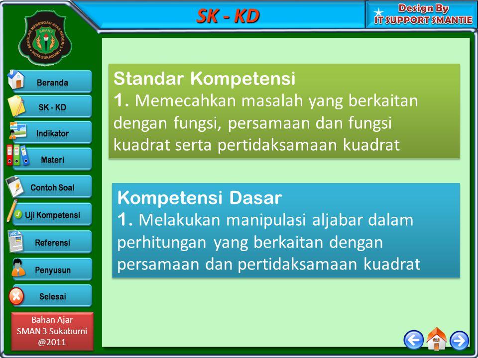 Bahan Ajar SMAN 3 Sukabumi @2011 Bahan Ajar SMAN 3 Sukabumi @2011 SK - KD Standar Kompetensi 1. Memecahkan masalah yang berkaitan dengan fungsi, persa