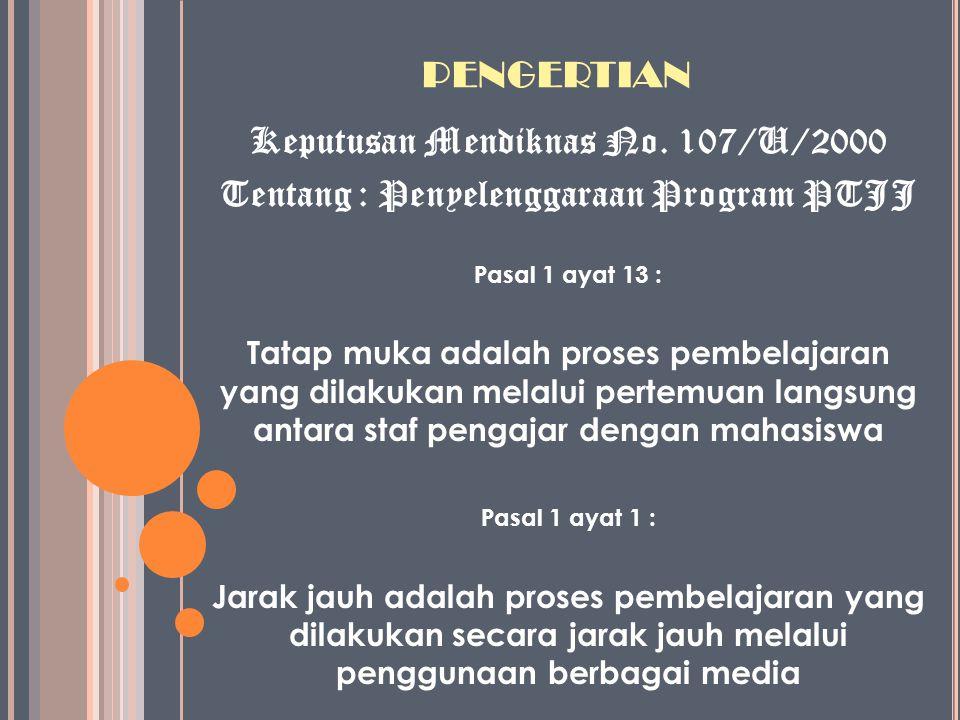 PENGERTIAN Keputusan Mendiknas No. 107/U/2000 Tentang : Penyelenggaraan Program PTJJ Pasal 1 ayat 13 : Tatap muka adalah proses pembelajaran yang dila