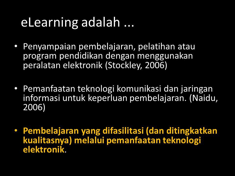 eLearning adalah... Penyampaian pembelajaran, pelatihan atau program pendidikan dengan menggunakan peralatan elektronik (Stockley, 2006) Pemanfaatan t