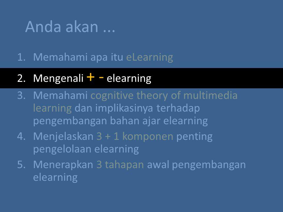 Anda akan... 1.Memahami apa itu eLearning 2.Mengenali + - elearning 3.Memahami cognitive theory of multimedia learning dan implikasinya terhadap penge