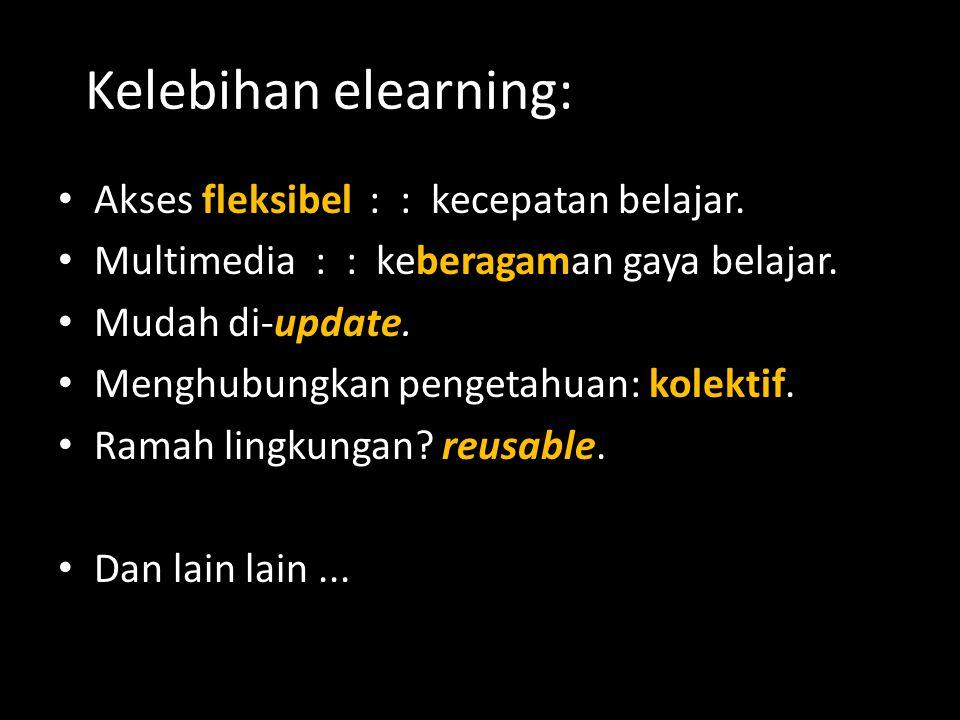 Kelebihan elearning: Akses fleksibel : : kecepatan belajar.