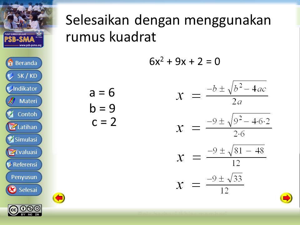 Bahan Ajar Matematika SMA Kelas X Semester 1 SK / KD Indikator Materi Contoh Latihan Simulasi Evaluasi Referensi Penyusun Selesai Beranda Selesaikan dengan menggunakan rumus kuadrat 6x 2 + 9x + 2 = 0 a = 6 b = 9 c = 2
