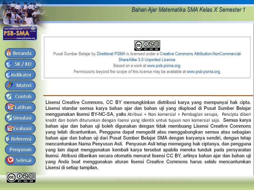 Bahan Ajar Matematika SMA Kelas X Semester 1 SK / KD Indikator Materi Contoh Latihan Simulasi Evaluasi Referensi Penyusun Selesai Beranda