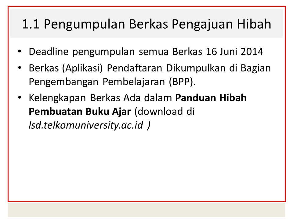 1.2 Kelengkapan Berkas (Aplikasi) Pendaftaran : ( Detail ada di Buku Panduan Hibah Buku Ajar 2014)