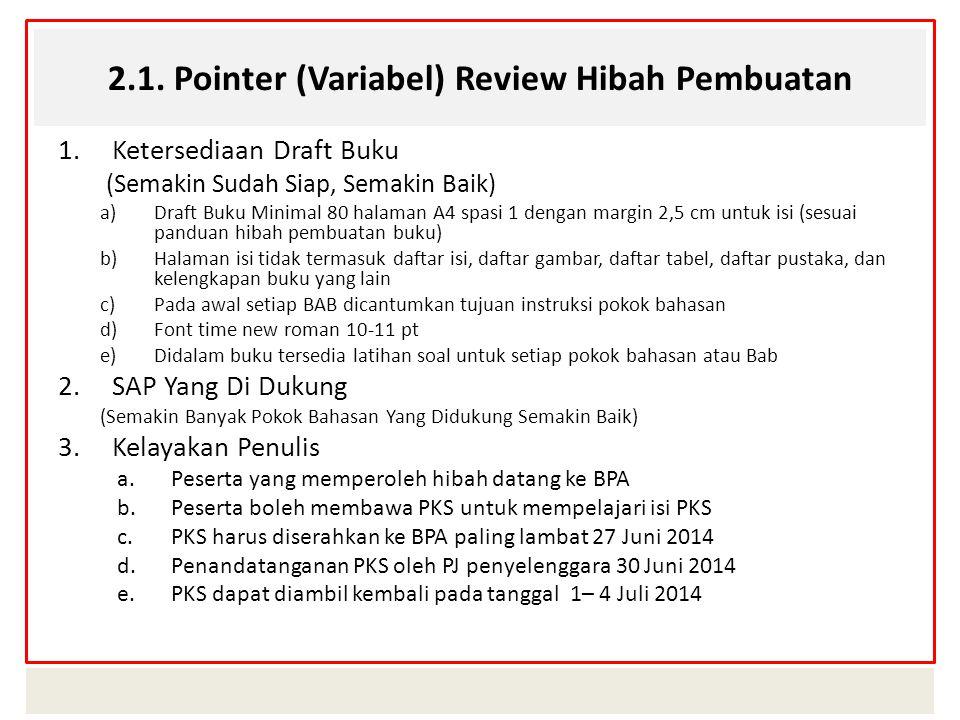 2.1. Pointer (Variabel) Review Hibah Pembuatan 1.Ketersediaan Draft Buku (Semakin Sudah Siap, Semakin Baik) a)Draft Buku Minimal 80 halaman A4 spasi 1