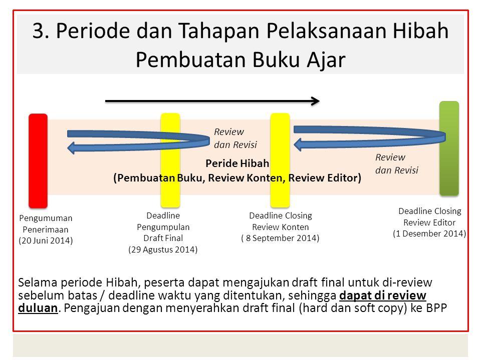 3. Periode dan Tahapan Pelaksanaan Hibah Pembuatan Buku Ajar Selama periode Hibah, peserta dapat mengajukan draft final untuk di-review sebelum batas