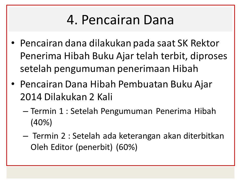 4. Pencairan Dana Pencairan dana dilakukan pada saat SK Rektor Penerima Hibah Buku Ajar telah terbit, diproses setelah pengumuman penerimaan Hibah Pen