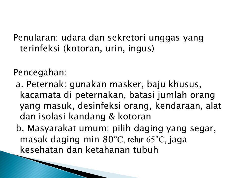 Penularan: udara dan sekretori unggas yang terinfeksi (kotoran, urin, ingus) Pencegahan: a. Peternak: gunakan masker, baju khusus, kacamata di peterna