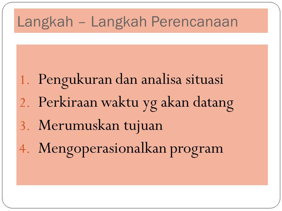 Langkah – Langkah Perencanaan 1. Pengukuran dan analisa situasi 2. Perkiraan waktu yg akan datang 3. Merumuskan tujuan 4. Mengoperasionalkan program