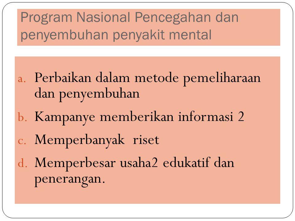 Program Nasional Pencegahan dan penyembuhan penyakit mental a. Perbaikan dalam metode pemeliharaan dan penyembuhan b. Kampanye memberikan informasi 2