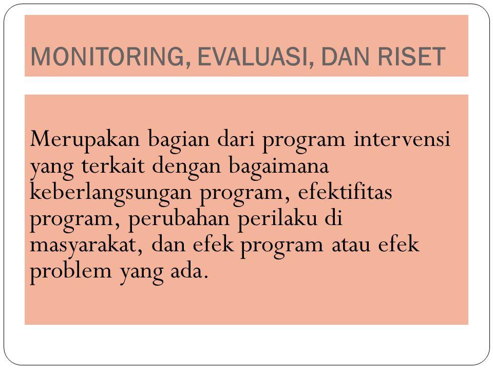 MONITORING, EVALUASI, DAN RISET Merupakan bagian dari program intervensi yang terkait dengan bagaimana keberlangsungan program, efektifitas program, perubahan perilaku di masyarakat, dan efek program atau efek problem yang ada.