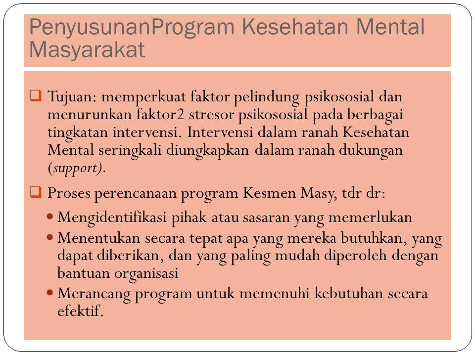 PenyusunanProgram Kesehatan Mental Masyarakat  Tujuan: memperkuat faktor pelindung psikososial dan menurunkan faktor2 stresor psikososial pada berbagai tingkatan intervensi.