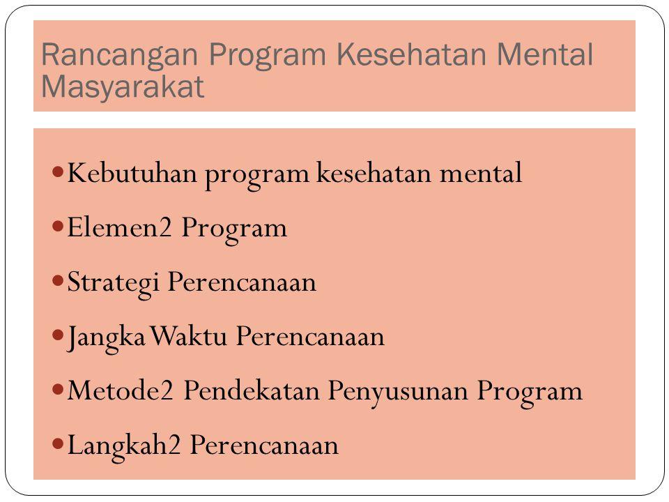 Rancangan Program Kesehatan Mental Masyarakat Kebutuhan program kesehatan mental Elemen2 Program Strategi Perencanaan Jangka Waktu Perencanaan Metode2 Pendekatan Penyusunan Program Langkah2 Perencanaan